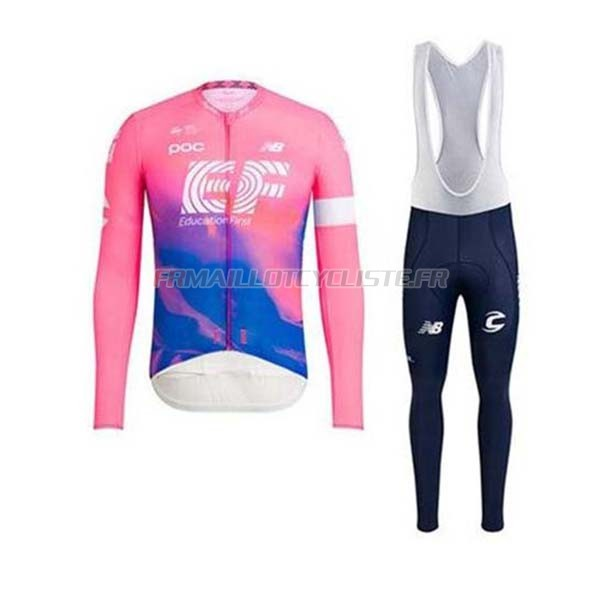 Maillot EF Education First Cuissard A Bretelles Manches Longues Rose 2020
