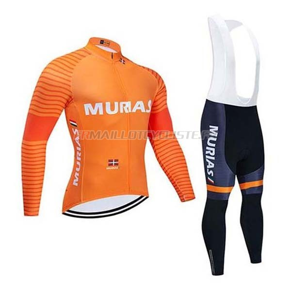 Maillot Euskadi Murias Cuissard A Bretelles Manches Longues Orange 2020