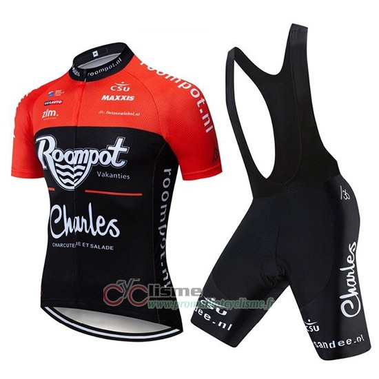 Maillot Roompot Charles Manches Courtes Rouge Noir 2019
