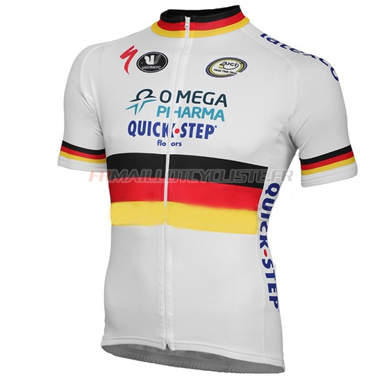 Maillot Quick Step Manches Courtes Blanc Jaune 2014