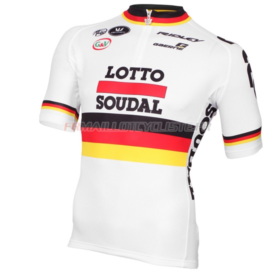 Maillot Lotto Manches Courtes Blanc Rouge 2015