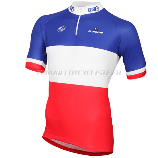 Maillot Fdj Manches Courtes Blanc Rouge 2016