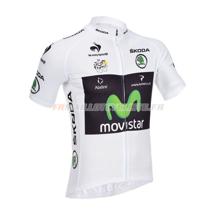 Maillot Movistar Manches Courtes Blanc 2013