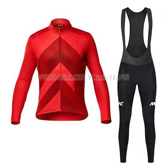 Maillot Mavic Cuissard A Bretelles Manches Longues Rouge 2020