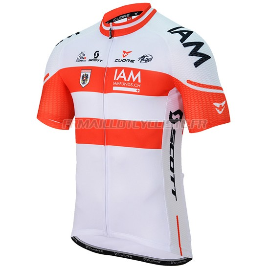 Maillot IAM Manches Courtes blanc e rouge 2017